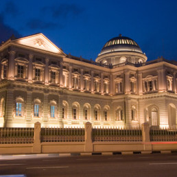 Singapore Close up night shot of the front facade of the National Museum